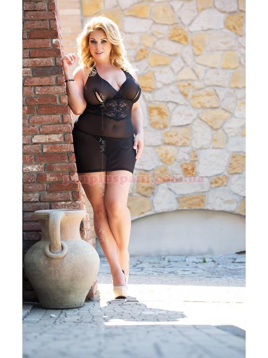 Пеньюар - Lucy Plus Size, чёрный, XXL