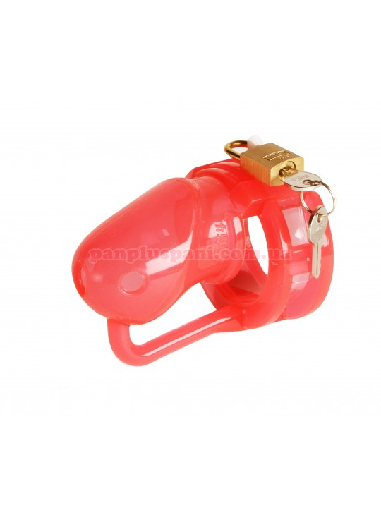 Пояс верности - MALESATION Penis Cage Silicone small red-clear