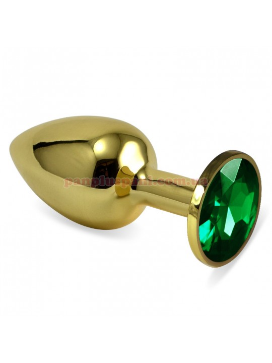 Анальна пробка LoveToy Classic Metal Plug S Gold, Green