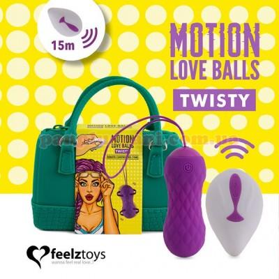 Вагінальні кульки FeelzToys Remote Controlled Motion Love Balls Twisty з вібрацією і масажем, вага 44 г