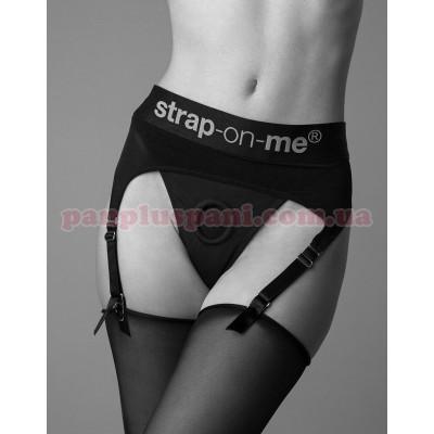 Трусики для страпона Strap-On-Me REBEL HARNESS - XL з підв'язками для панчіх