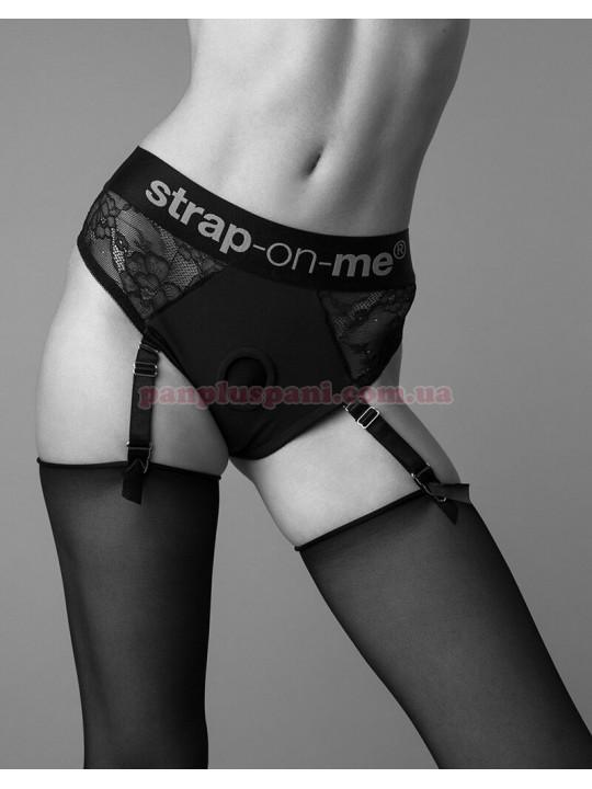 Трусики для страпона Strap-On-Me DIVA HARNESS - M з підв'язками для панчіх
