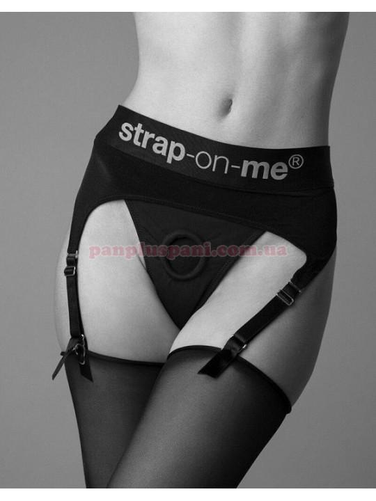 Трусики для страпона Strap-On-Me REBEL HARNESS - S з підв'язками для панчіх