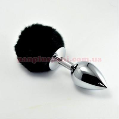 Анальна пробка Pompon Metal Plug Large Silver/Black, Ø4см, вага 283 г