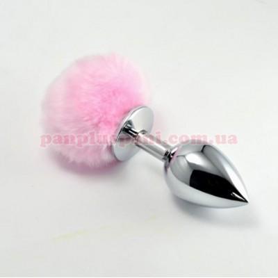Анальна пробка Pompon Metal Plug Large Silver/Pink, Ø4см, вага 283 г