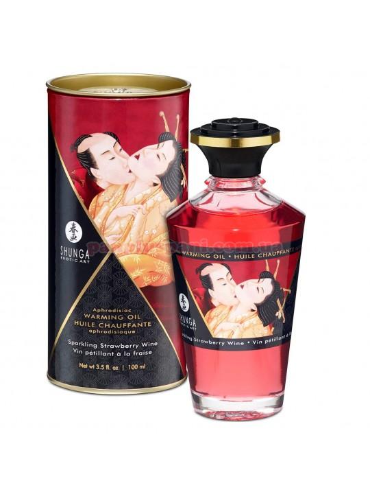 Массажное масло для интимных зон Shunga Aphrodisiac Sparkling Strawberry Wine съедобное согревающее 100 мл