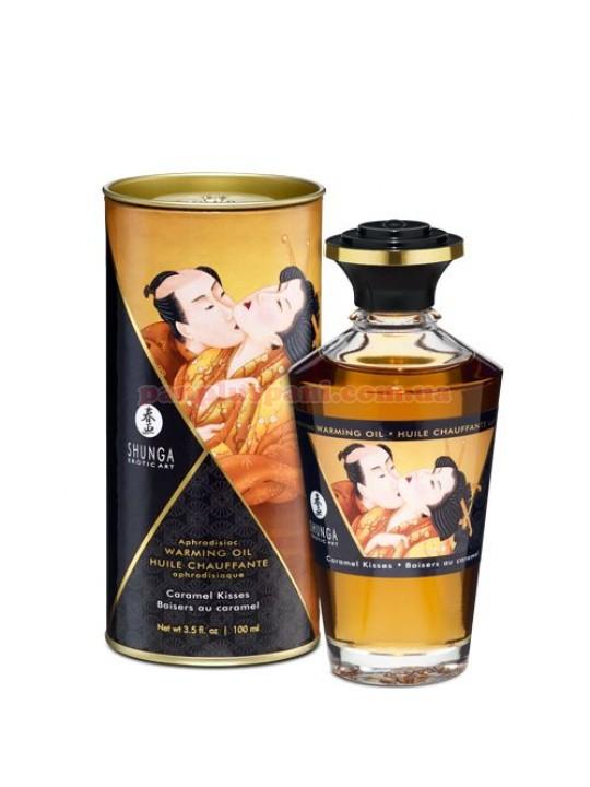 Массажное масло для интимных зон Shunga Aphrodisiac Caramel Kisses съедобное согревающее 100 мл